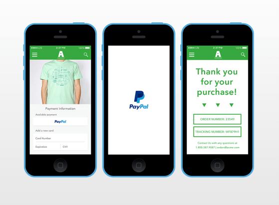 Disponibilité de PayPal OneTouch, bouton de paiement en un clic
