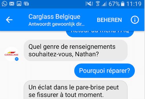Carglass sert ses clients via Facebook Messenger... avant les chatbots !
